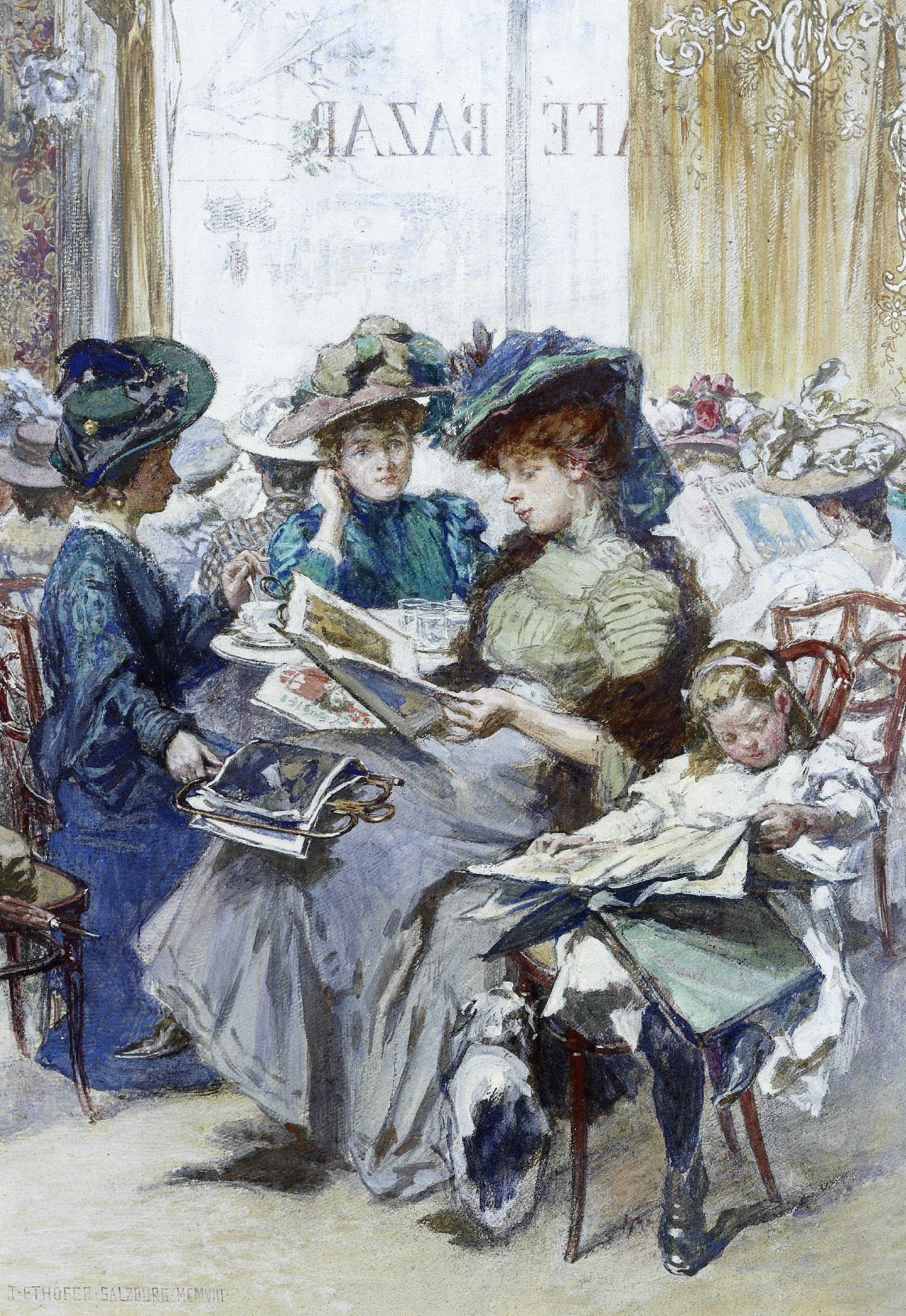 Ladies in the Café Bazar in Salzburg, Theodor Ethofer, 1908, inv. no. 1015-94