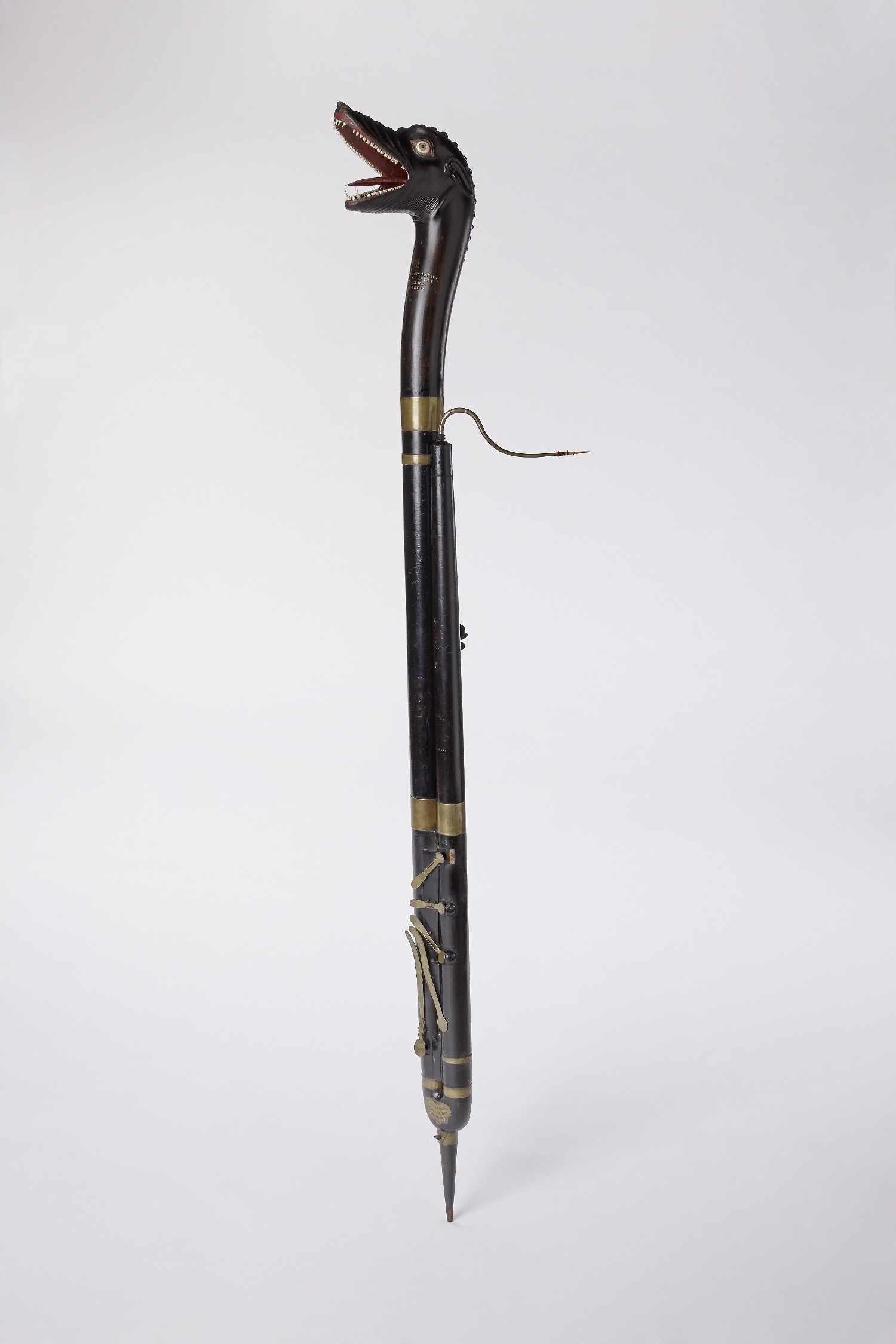 Contrabassoon, Joannes Maria Anciuti, Milan, 1732, wood (maple), brass, paper, glass, inv. no. MI 1247