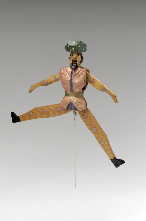 Jumping jack, mock Napoleon, 19th c., wood, carved, painted, inv. no. F 395