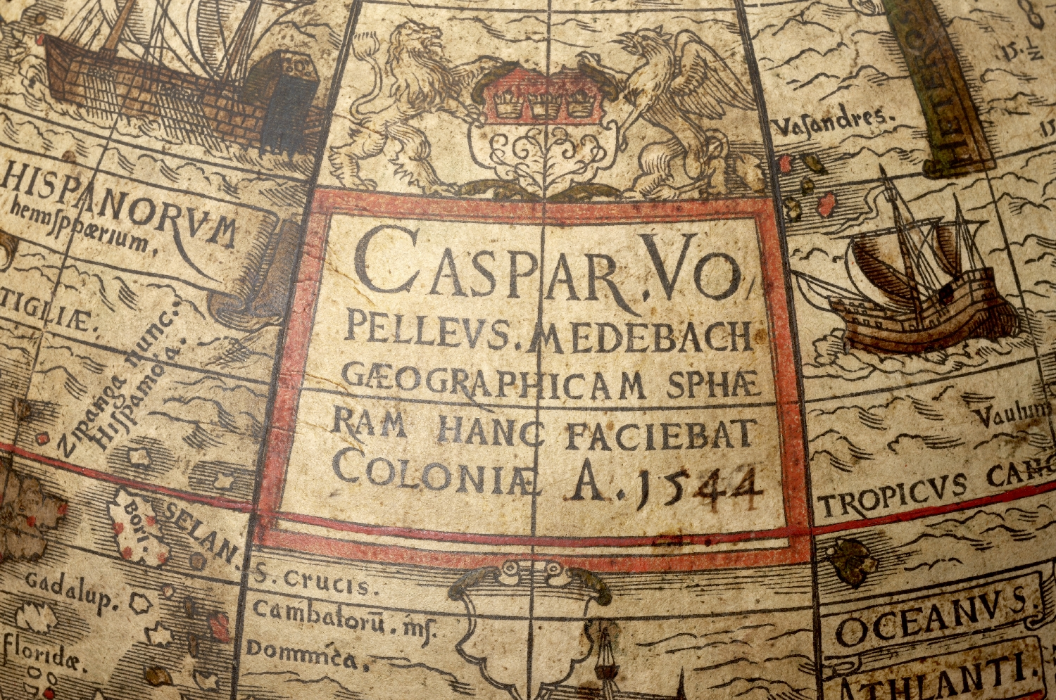 World globe, Caspar Vopelius, Cologne, 1544, cardboard, plaster, copper engraving on paper, wood, inv. no. K 1630-49