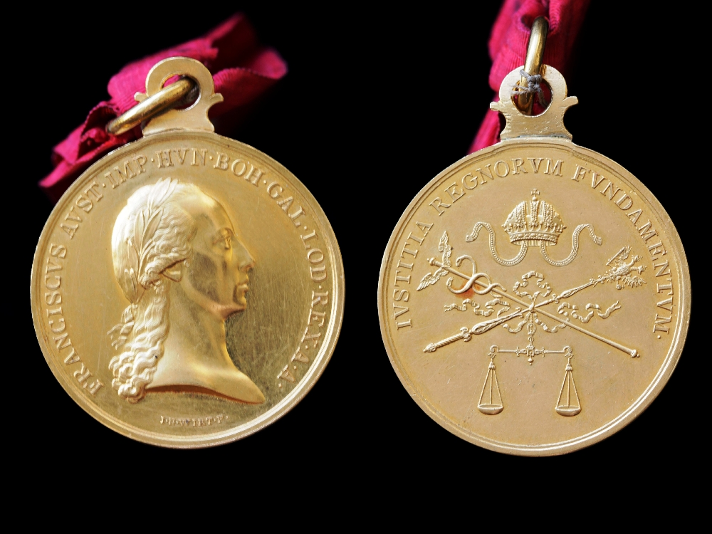 Medial Gold Medal of Honour for Civilians worth 12 ducats, awarded to the Salzburg warden Johann B. Petermandl, Francis I, inv. no. OR 48
