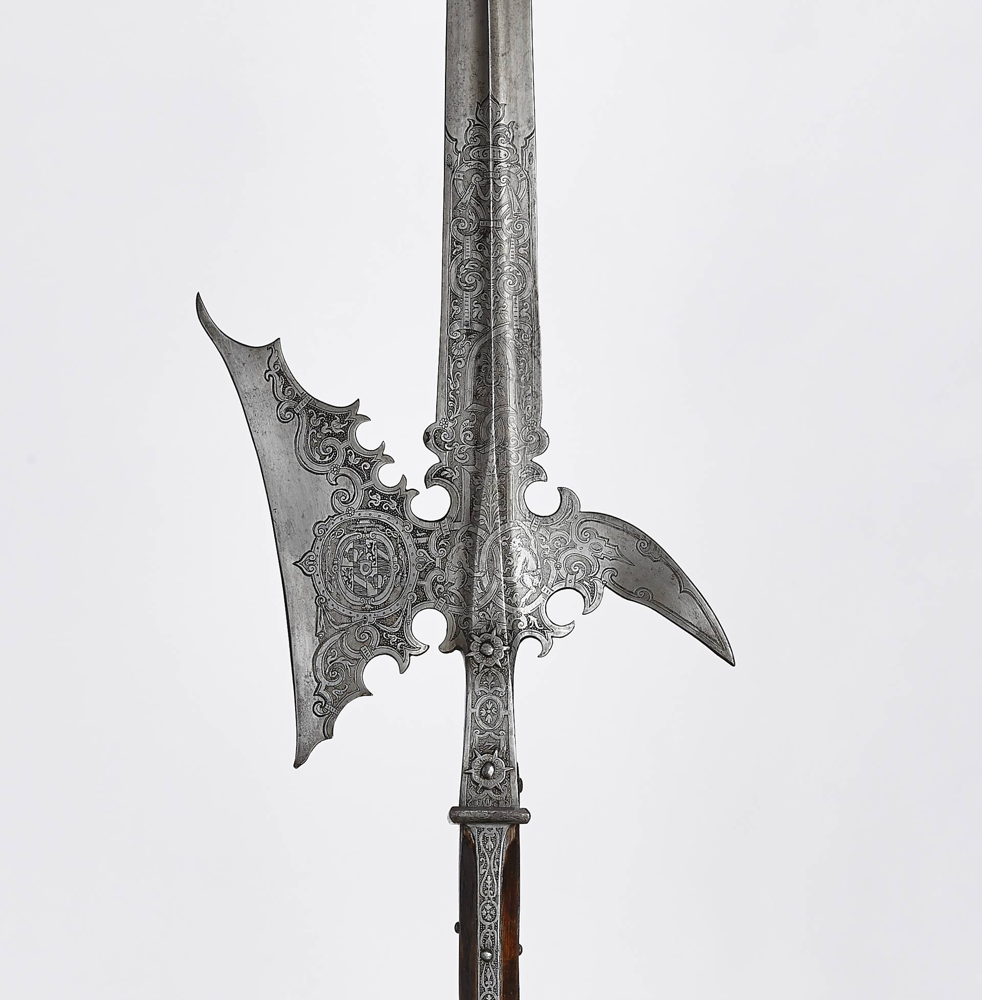"Halberd of Archbishop Wolf Dietrich's bodyguard, ornamental high etching with coat of arms and ""Teuferln"" (little devils), 1611, iron, inv. no. WA 1066"